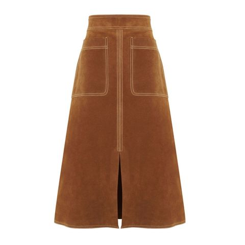 M&S Autograph brown suede A line skirt