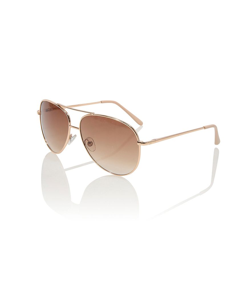 George Rose Tint Aviator Sunglasses