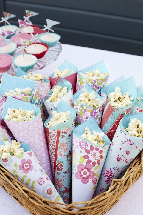 Sweet cones filled with popcorn
