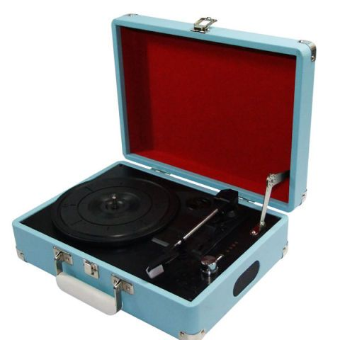 Blue turntable music speaker