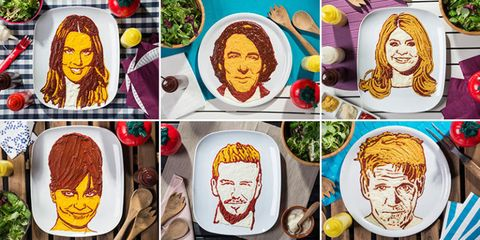 Celebrity faces on plates