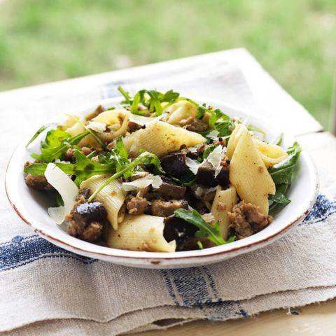 Aubergine sausage pasta