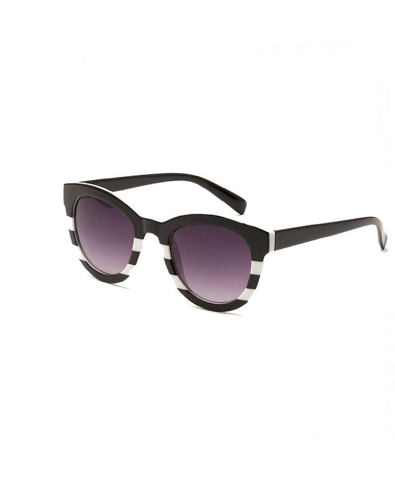 South Beach Kylie Black & White Striped Cat Eye Sunglasses