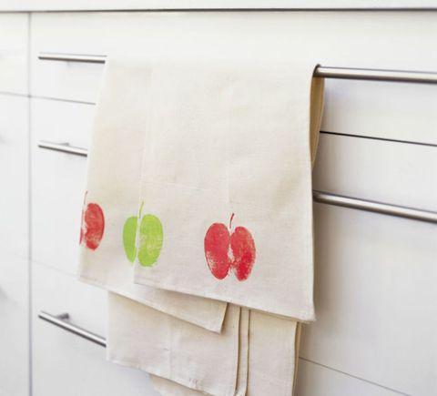 Apple print tea towel