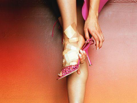 Woman painful high heels