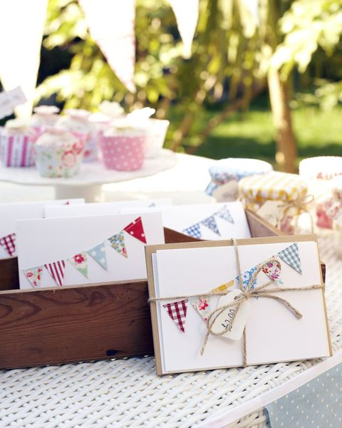 Handmade cards with bunting decoration