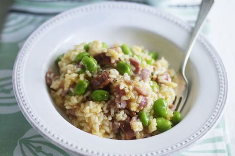 Chorizo risotto with broad beans