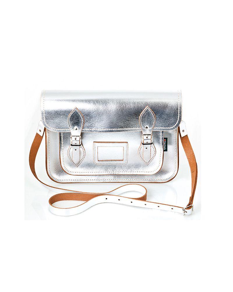Zatchels Metallic Silver Leather Satchel