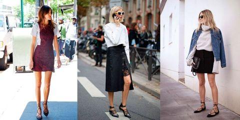 Women wearing lace-up flats