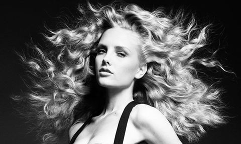 Blonde model with curly hair