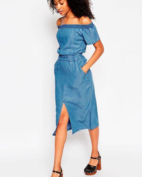 ASOS denim off shoulder waisted midi dress