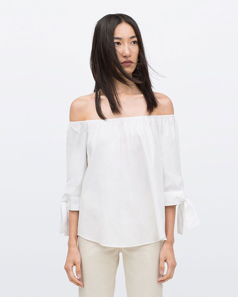Zara off-the-shoulder poplin shirt