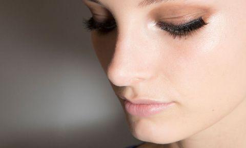 Female eyelashes with black mascara