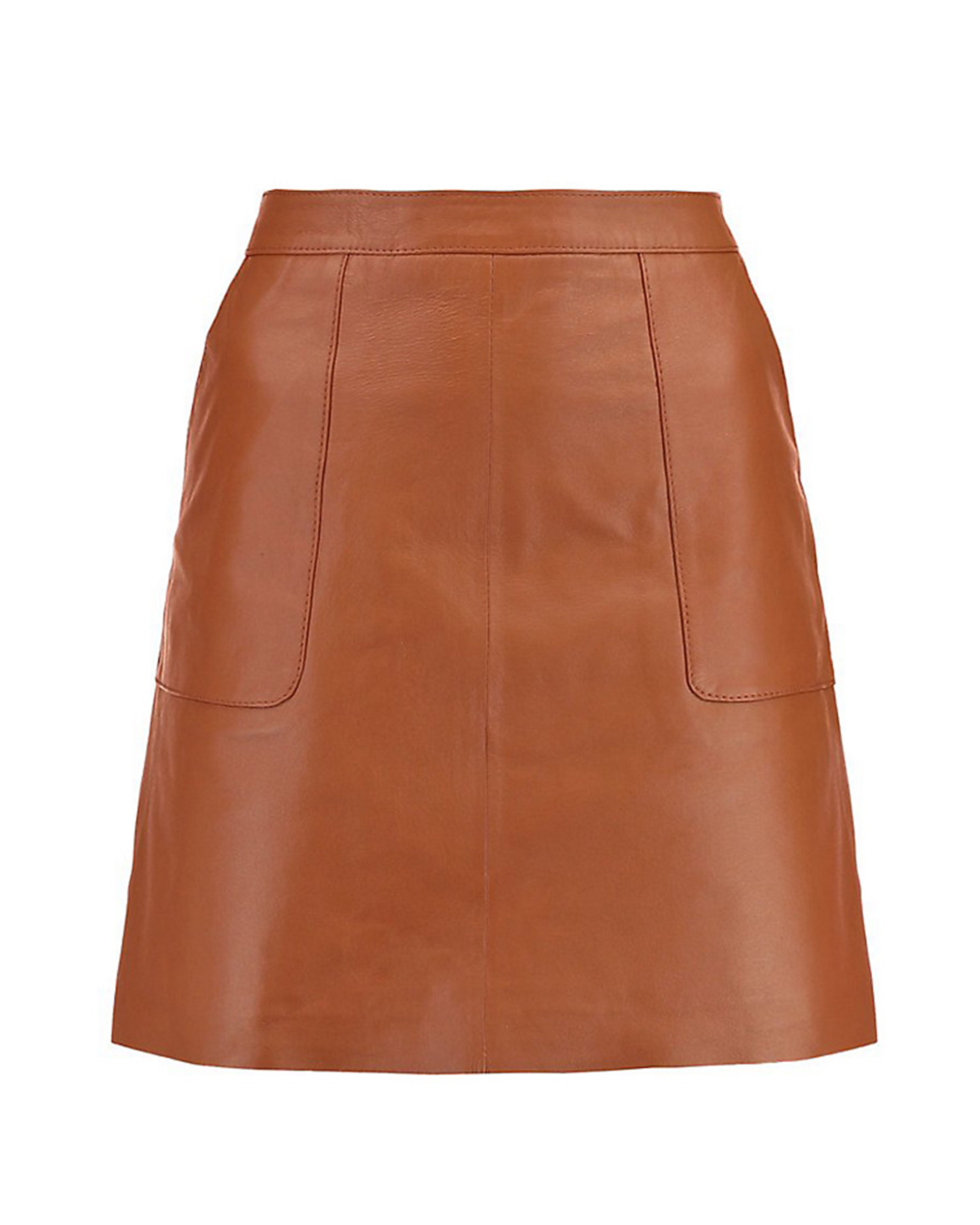 Warehouse leather pocket A-line skirt