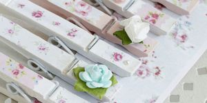 Decoupage floral clothes pegs