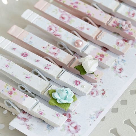 Decoupage floral clothes pegs