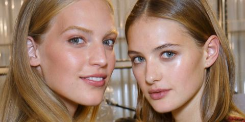 Two blonde girls with natural makeup