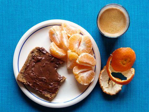 Chocolate spread on toast with orange