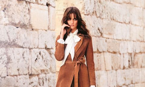 F&F brown suede belted coat