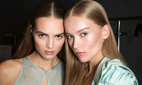 Two models with natural makeup