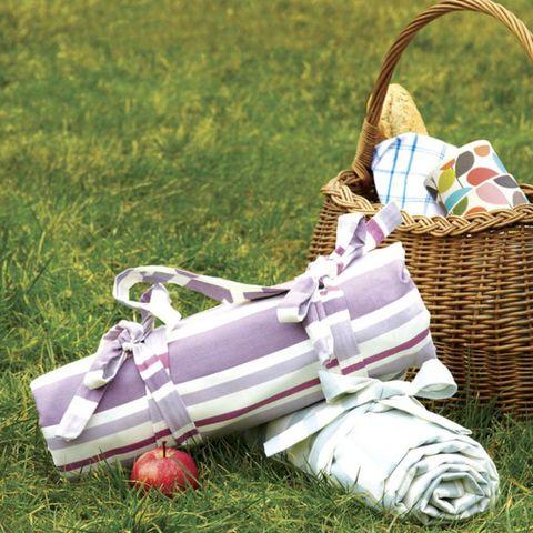 Picnic blanket on grass