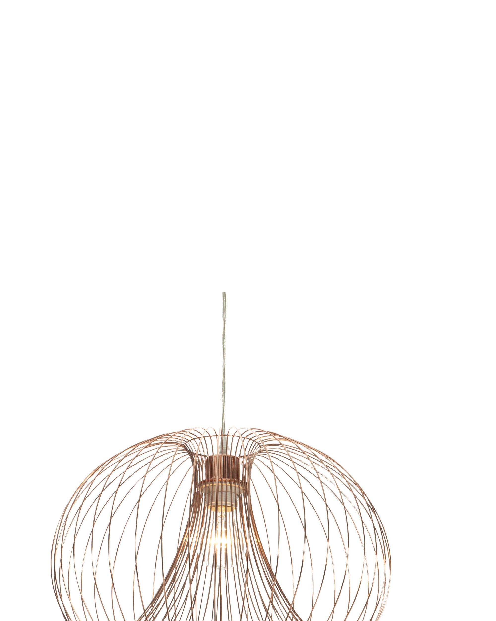 Copper cage pendant ceiling light