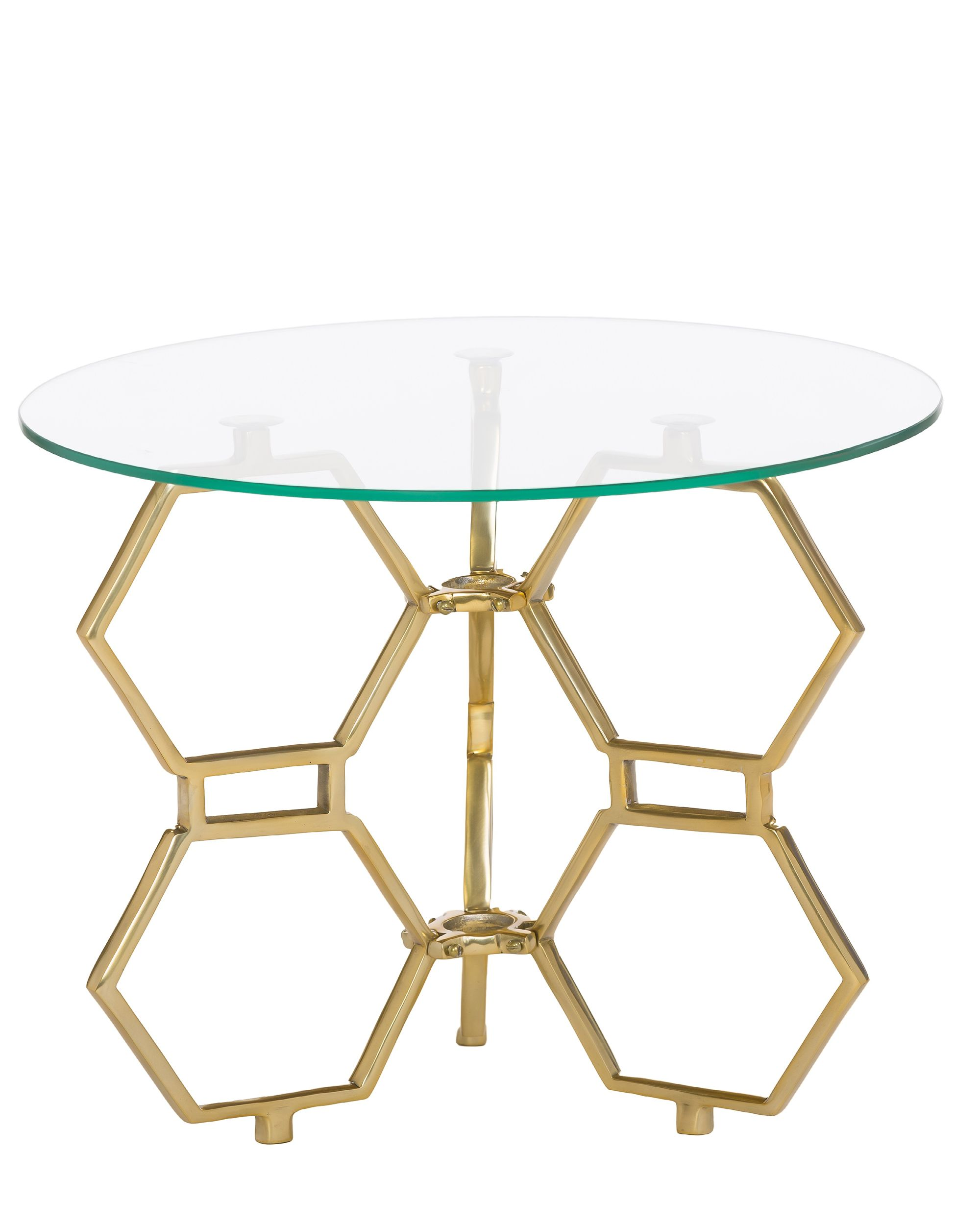 Honeycomb design coffee table with glass top