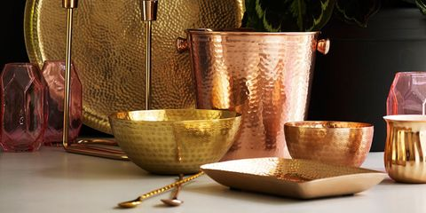 Oliver Bonas metallic collection AW 15 including bowls, tray and candlesticks