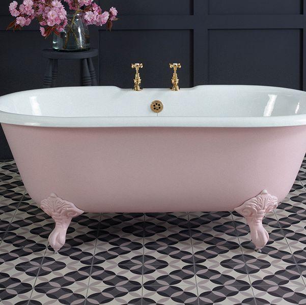 pink roll top bath in bathroom