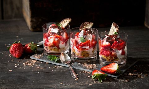 strawberry and marshmallow dessert in glasses