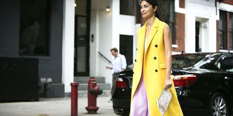 Yellow, Street fashion, Blazer, Snapshot, Windshield, Baggage, Pantsuit, Overcoat, Cleanliness,