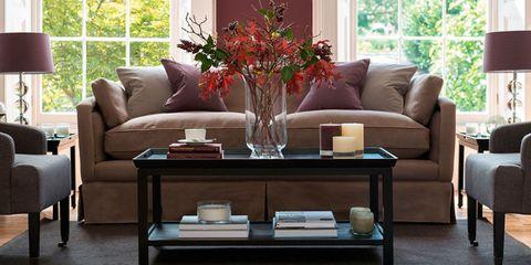 Faux flower arrangement on coffee table