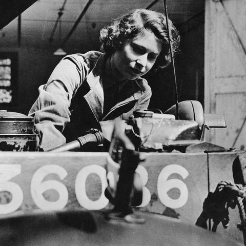 Queen Elizabeth training as a mechanic