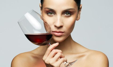 red wine glass woman