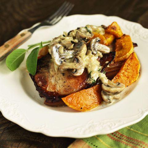 Pork chops butternut squash mushroom sauce