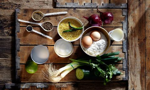 Healthy ingredients on a wooden table