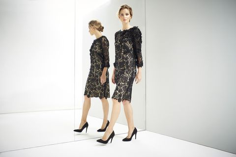 Clothing, Dress, Sleeve, Shoulder, Standing, Joint, Shoe, One-piece garment, Style, Waist,