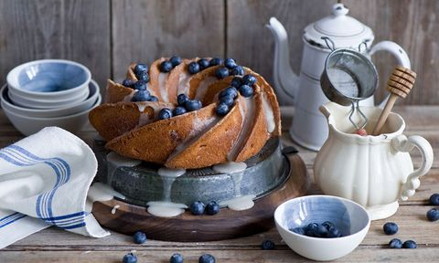 Blueberry cake on  wooden table