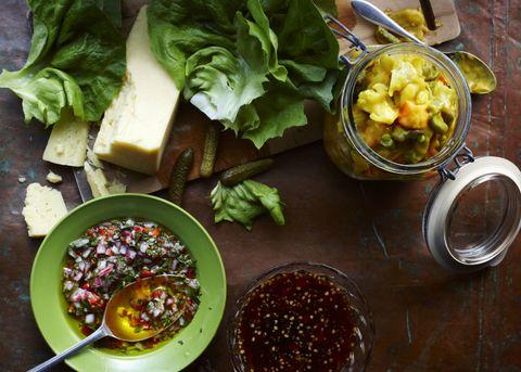 Cheese piccalilli salad