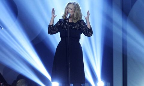 Adele on stage at the brits