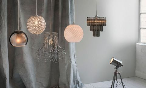 Various lampshades in a white and grey room