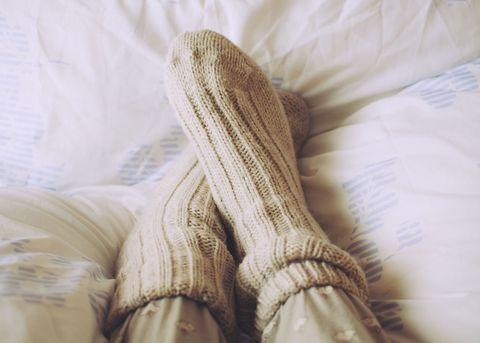 Socks in bed