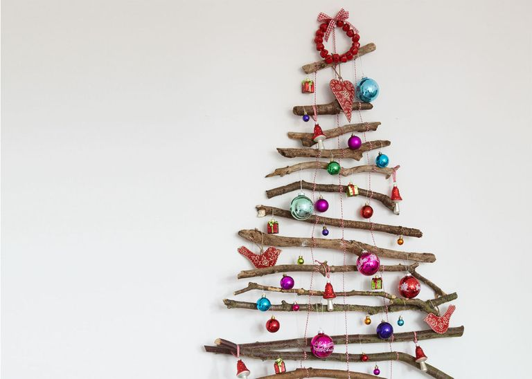 Create A Festive Feature Wall With A Twig Christmas Tree