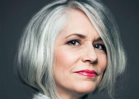 Grey hair and make-up