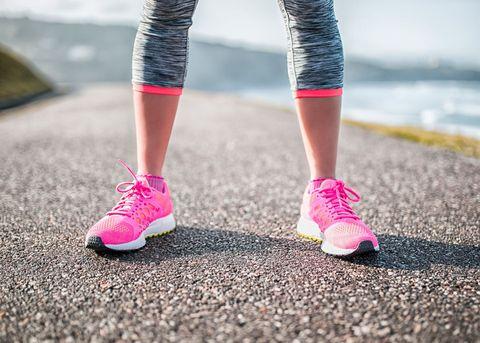 Woman's feet wearing trainers