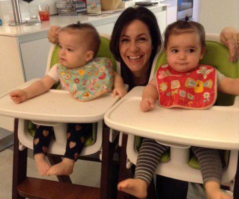 TV presenter Julia Bradbury and her twin daughters