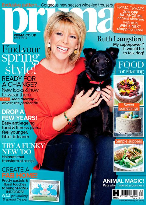 Prima April 2016 issue with Ruth Langsford and her dog Maggie