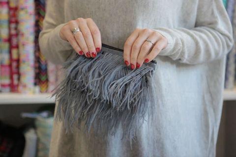 Feather clutch bag