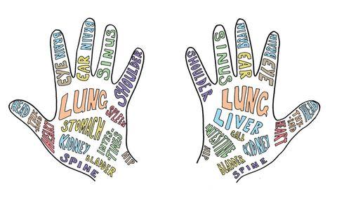 Hand reflexology diagram