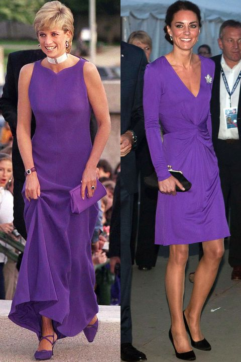 Diana in Versace at a dinner at the Field Museum of Natural History in Chicago in June 1996; Kate celebrates Canada Day in an Issa dress during the Royal Tour of North America in July 2011.